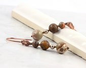 Fall Fashion Jewelry Earrings Safari Jasper Brown Earth Tones Woodland Rustic Bronze Mothers Day Jewelry