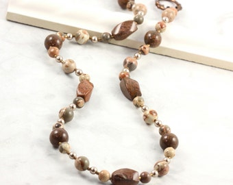 Chrysanthemum Stone Jewelry, Brown Necklace, Safari Jasper, Bronze Metallic