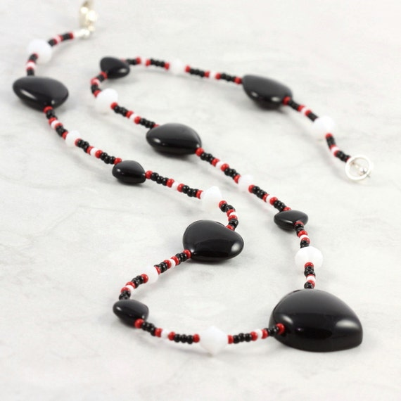 Black Onyx Heart Red White Necklace Queen of Hearts Valentine Jewelry Sterling Silver Clasp