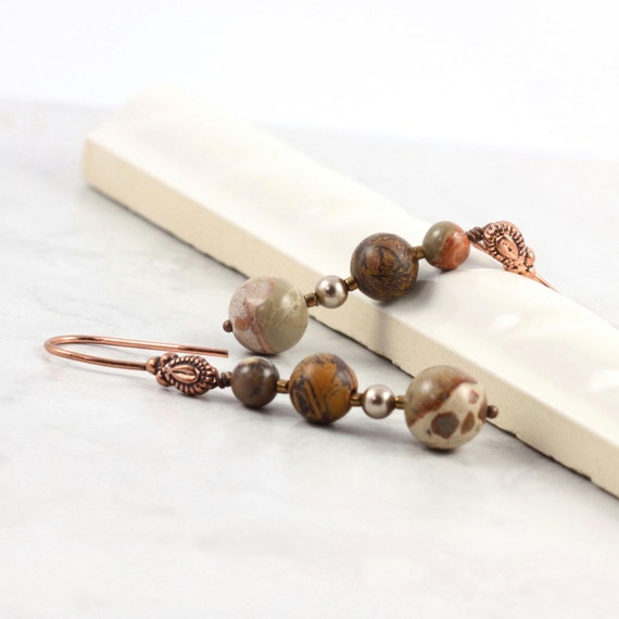 Chrysanthemum Stone Jewelry, Brown Earrings, Safari Jasper, Bronze Metallic