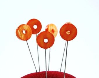 Circular Shell Sewing Pin - Set of 6 x-tra long Orange