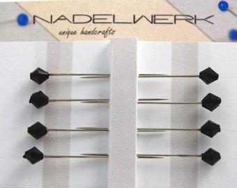 Black bicone sewing pins - set of 8 medium long pins