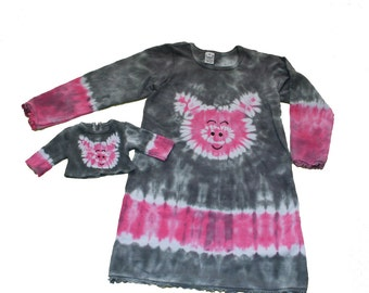 Matching Girl and Doll Tie Dye Pig Dress and Shirt Set- Fits 18 and 15 inch dolls