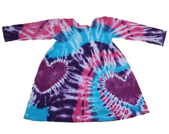 Tie Dye Dress for Girls in Turquoise, Hot Pink and Purple with Magenta Hearts