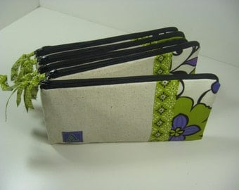 Personalized, Embroidered,  Initial Clutch,  Zipper Pouch,  Clutch,, Made To Order - Purple and Green