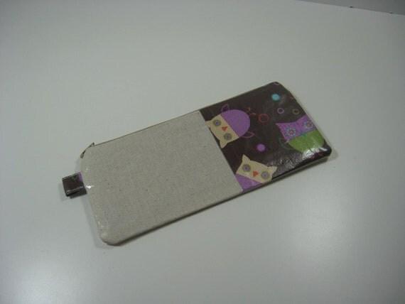 Laminated Cotton Case Pencil Pouch , Cosmetics Pouch, Zippy Pouch - Owls