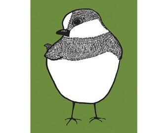 Nursery bird art, chickadee print, 5 x 7 in Apple Green - SALE