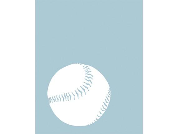 Baseball Silhouette Art Print in Baby Blue, Sports Room DECOR, 8 x 10 - SALE