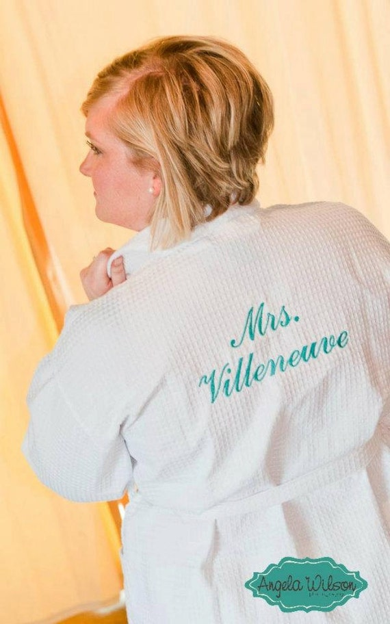 Personalized Robe Bride front & back embroidery Wedding Date and Bride or Mrs. or I Do waffle weave spa robe