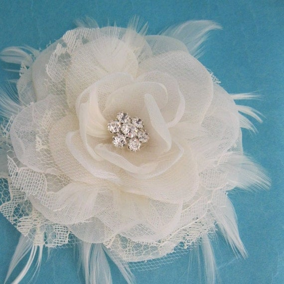 Ivory Lace and Organza and Tulle Feather Rose Hair Clip I166- bridal wedding hair accessory