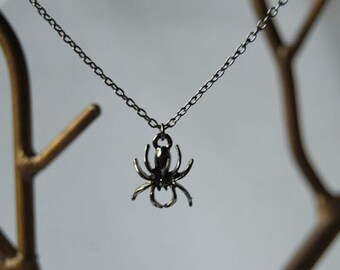 Spooky Spider Necklace | Dark Silver Spider Pendant | Cute Spider Charm Necklace
