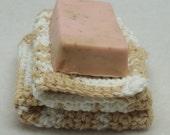 Beige Crocheted Facecloth scrubbie eco-friendly