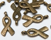 24 Awareness Ribbon Charms in Antiqued Brass Tone, Lead/Nickel Free Base Metal Charms, M0121-AB