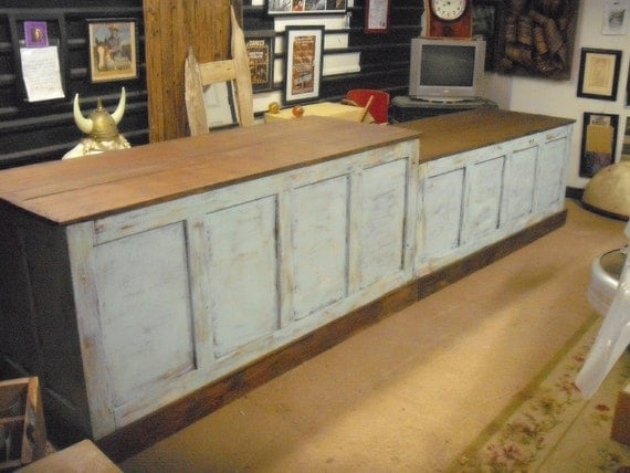 Distressed retail check out counter kitchen island bar for Wrap around desk plans