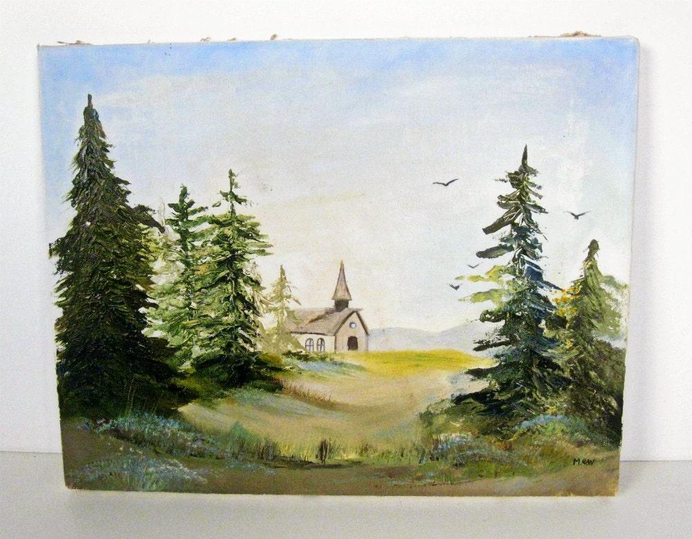 Vintage Woodland Chapel Oil Painting