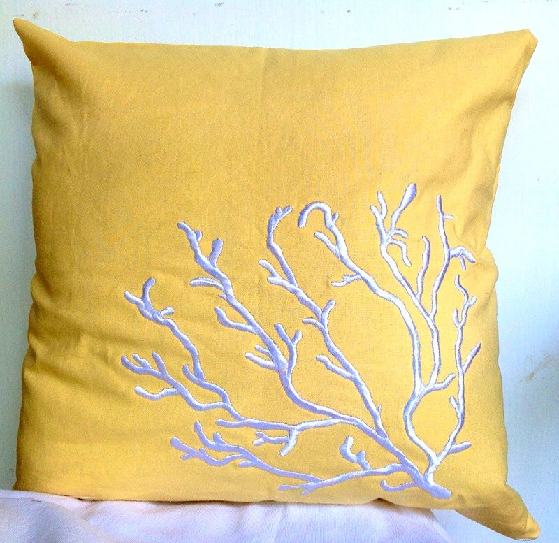 Embroidered Coral trellis throw pillow 16 inches by Snazzyliving