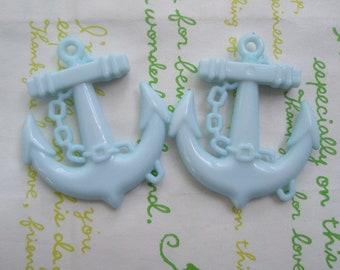 SALE Plastic Large Anchor charms 2pcs Pastel Blue