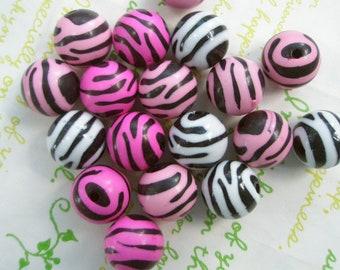 Zebra Print Puffy Round beads 8pcs Mix 16mm