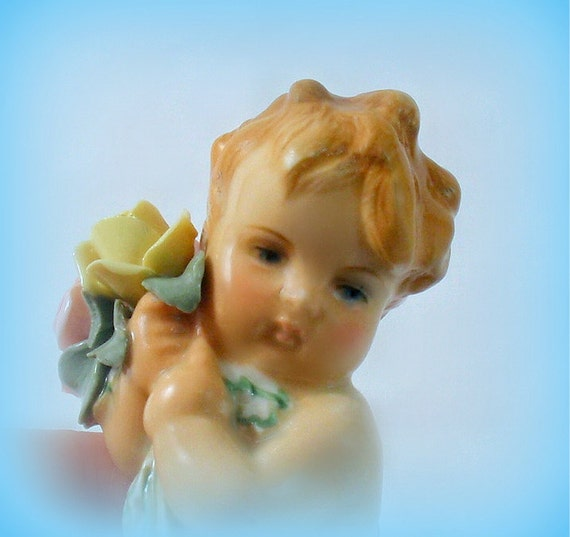 German Infant Child Figurine by Karl Ens Porcelain E Germany Volkstedt Baby Putto Flowers 1940s