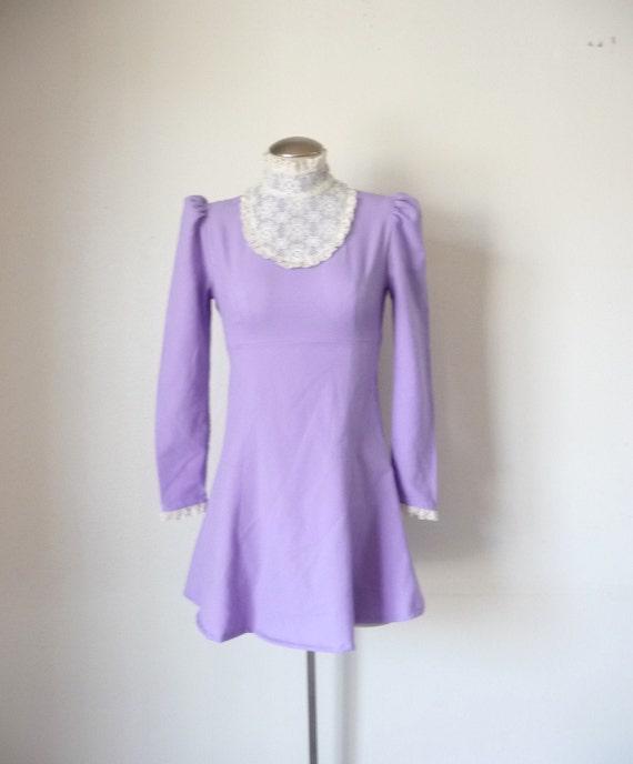 Vintage 70s Lavender PUFF SLEEVE Babydoll Mini Dress S