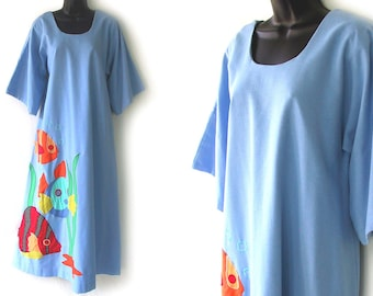 70s Blue with Novelty Fish Appliques Lounge Maxi Dress M L