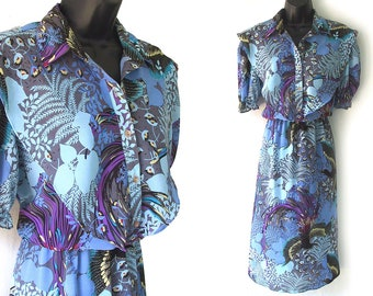 70s 80s Blue and Purple Abstract Floral and Bird Print Dress M L