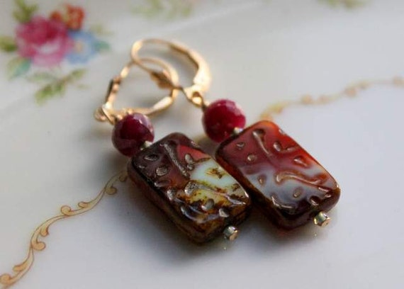 Czech Glass Rectangle Beads with large 7mm Ruby and 14k gold filled leverback ear wires.  Red,  Brown, Turquious