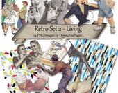 Retro Set 2 - Living - 14 PNG images - INSTANT Download for ACEO, Tags, Collage Art, cards