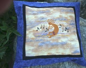 Magic Flute - Kokopelli Embroidered and Pieced Pillow Cover