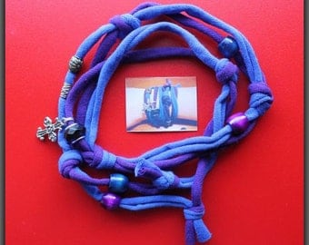 Blue and Purple Tshirt Bracelet