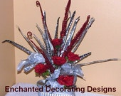 Christmas Wedding Centerpiece  25% off Red open rose and Poinsettia  Decoration design christmas decor party arrangement flower centerpieces