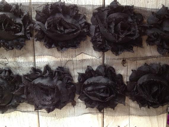 Chiffon Shabby Chic Rose Trim in BLACK -2 1/2 inch- 1/2 yard