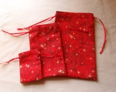 Red Swirls and Stars Cotton Drawstring Pouches Set of Three Different Sizes