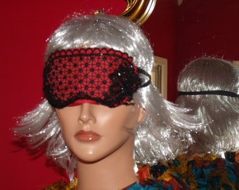 EyeMask Black  Lace Accent Beaded glass