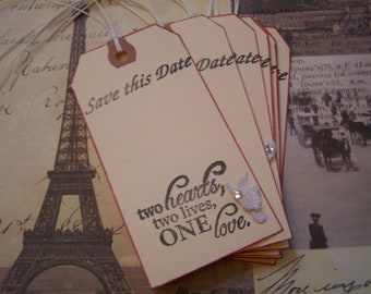 Save this Date - Two Hearts, Two Lives One Love handmade Wedding Tag - Wish Tree - Gift-Tag set of 6 French Shabby Chic Style