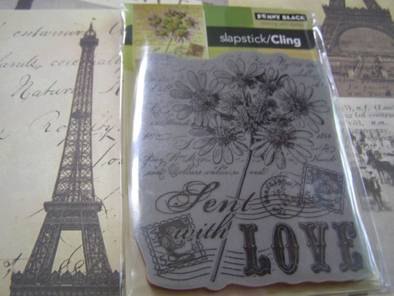 Sent with Love Slapstick Penny Black Cling foam-mounted Stamp