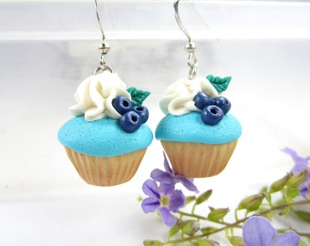 Blueberry Yum Cupcake Earrings - Food Jewelry, food earrings, cupcake jewelry