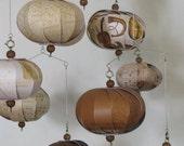 Hanging music violin copper cream white musical mobile