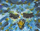 CLEARANCE SALE Celestial Owl ACEO Atc Art Card Original Starry Night Painting Acrylic Ooak