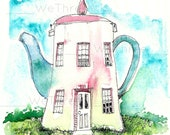 Teapot House, Home Decor, kitchen art, coffee, tea lover, for her