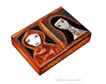 Saint Francis of Assisi and Saint Clare - Aceo print mounted on Wood (2.5 x 3.5) Folk Art  by FLOR LARIOS