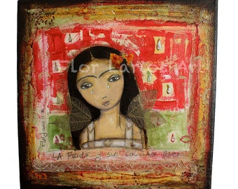 La Frida y su Columna Rota - Broken column Frida - Print from  Painting by FLOR LARIOS (7 x 7 INCHES)