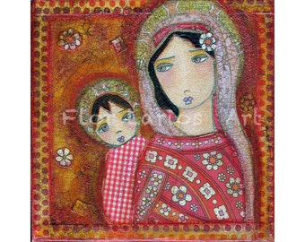 Mary and Child V Print from Painting by FLOR LARIOS ( 7 x 7 INCHES)