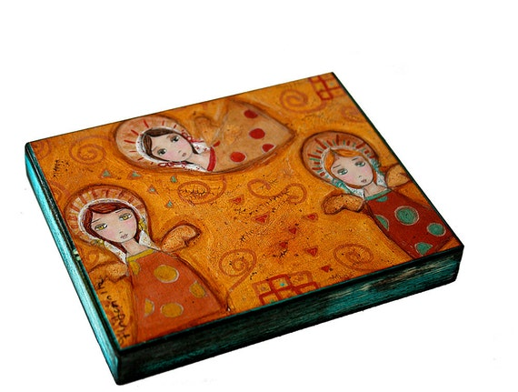 Klimt Gold Angels -  Giclee print mounted on Wood (4 x 5 inches) Folk Art  by FLOR LARIOS