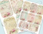 JOURNAL DE PARIS Collage Digital Images -printable download file Digital Collage Sheet Vintage Paper Scrapbook