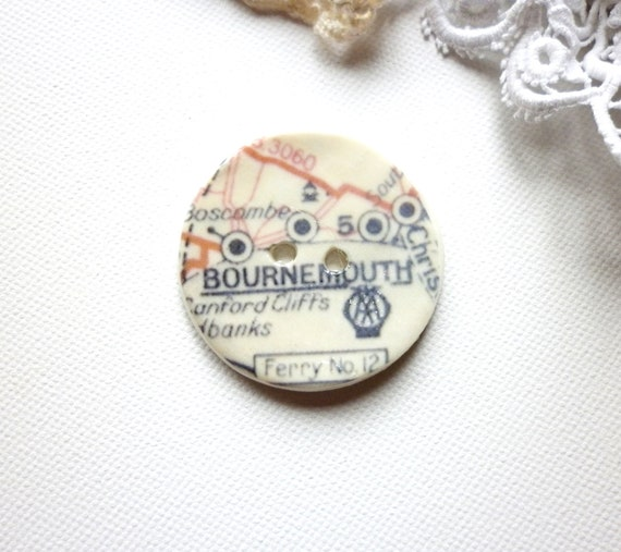 Memories of Bournemouth,  A handmade ceramic sew on button