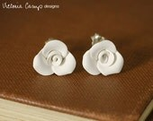 Small White Rose Earrings, Sterling Silver Posts, Handformed Clay Roses, Wedding Earrings, Bridal Jewelry - Ready to Ship