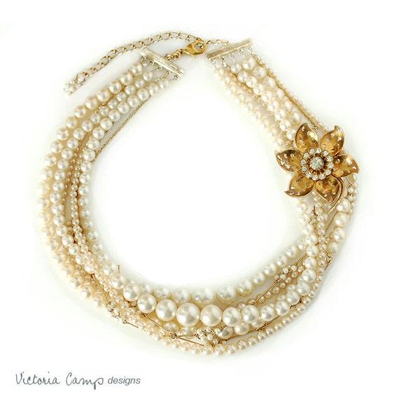 Reserved - Layered Pearl Wedding Necklace, Vintage Rhinestone Flower Brooch, Bridal, Vintage Pearls, Ivory, Dramatic,  Eco Friendly