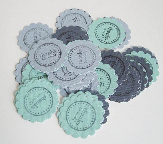 40 Assorted blues thanks so much stamped stickers, envelope seals