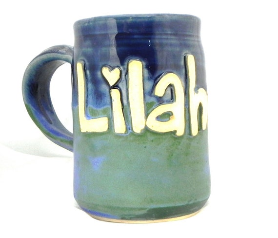 Ceramic Handmade Pottery Wheel thrown Stoneware Personalized Name Mug by Jewel Pottery Cup Each one Unique
